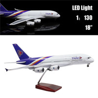 46CM 1:160 Airplane Model Thailand Airbus A380 with LED Light(Touch or Sound Control) for Decoration or Gift