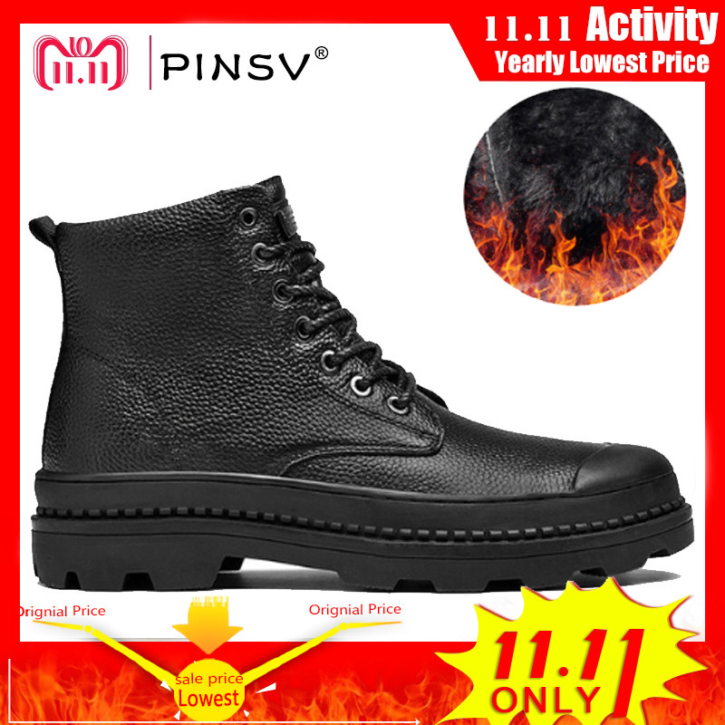 PINSV Winter Shoes Men Boots Warm Fur Genuine Leather Boots Men Winter Shoes Motorcycle Military Boots For Men Shoes Size 38-46 pinsv winter boots men shoes genuine leather warm snow boots men winter shoes black outdoor work boots plus size 39 46