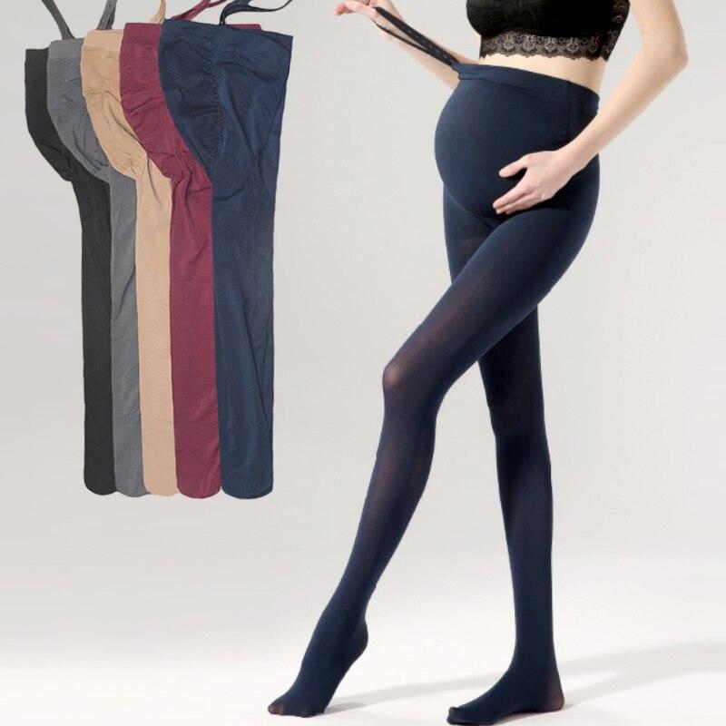 92be6bf3f De invierno de Color sólido de alta calidad embarazo Leggings ajustable de  alta elástico ropa embarazada pantalones para mujeres medias