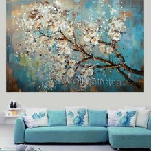 Large 100% hand painted flowers tree abstract modern oil painting on canvas wall art wall pictures for living room Home Decor