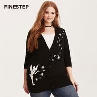Übergroßen Frauen Herbst V-ausschnitt Stricken Pullover Schwarz Strickjacken Mit Weiß Elf Muster Gestrickte