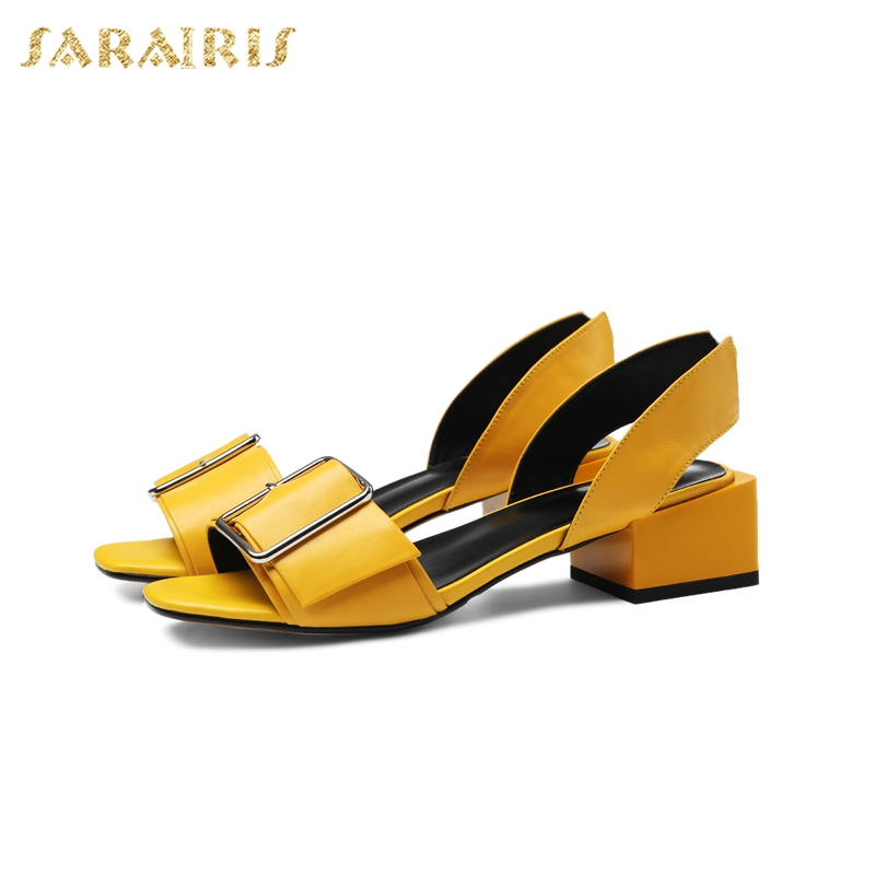 Sarairis Hot Sale Chunky Heels Natural Cow Genuine Leather womens Shoes Woman Concise Date Party Summer Sandals ShoesSarairis Hot Sale Chunky Heels Natural Cow Genuine Leather womens Shoes Woman Concise Date Party Summer Sandals Shoes