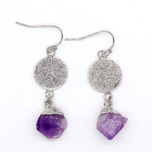 100-Unique 1 Pair Silver Plated Irregular Shape Natural Amethysts with Round Net Earrings Elegant Womens Earring