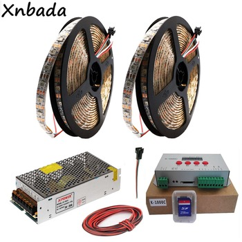 WS2812B WS2812 RGB Led Strip Light Tape K-1000C (T-1000S Updated) RGB Led 2048 Pixels Controller DC5V Led Transformer Kit