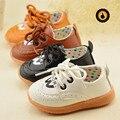 Zapatos de los bebés de 2016 moda de nueva marca de cuero niño calza los primeros caminante niño zapatos inferiores suaves para bebés