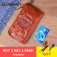 EUMOAN Real Cow leather Men Wallets Genuine Leather Long Purse For Men Zipper Large Capacity Card Holder Men Purse Wrinkle bag