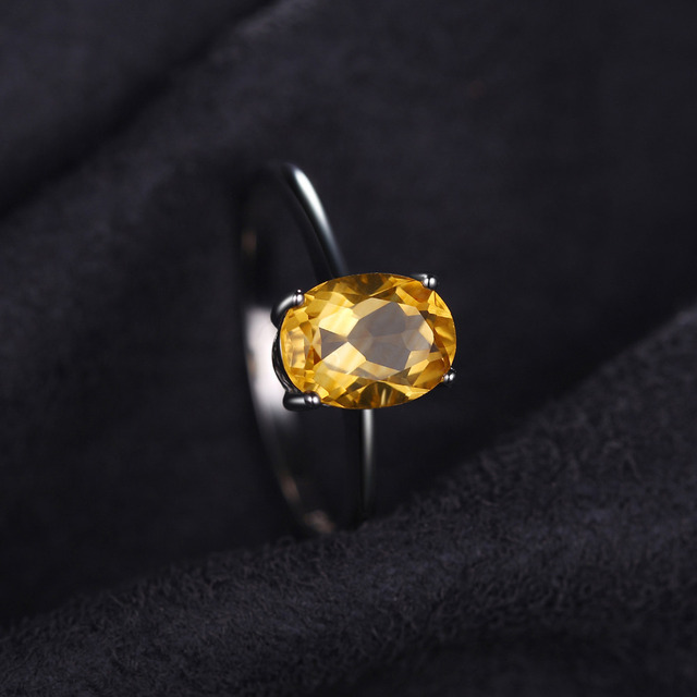 Natural Citrine Birthstone Solitaire Ring