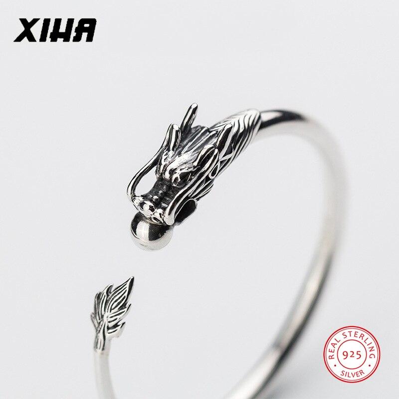 XIHA Fine Jewelry Genuine Sterling Silver Bracelet Bangles Luxury Dragon Shape Open Cuff S999 Thai Silver Vintage Jewelry все цены