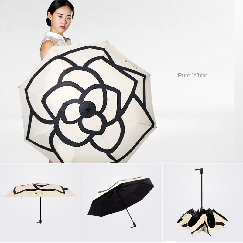 Camellia Non automatic Umbrella Sunny and Rainy Umbrella