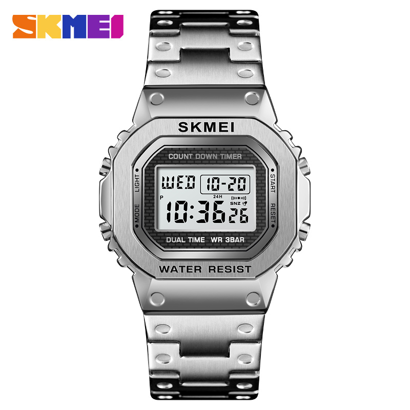 <font><b>SKMEI</b></font> <font><b>1456</b></font> Men's G-Style Digital Watches Stainless Steel Electronic Wristwatches Shock LED Sprots Watch <font><b>skmei</b></font> montre homm image