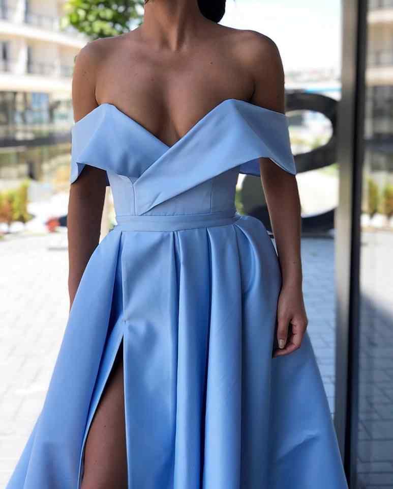 Торжественное платье Для женщин элегантное вечернее платье 2019 сатин с открытыми плечами длинное платье на выпускной вечерние платье с разрезом сбоку Abiye Gece Elbisesi