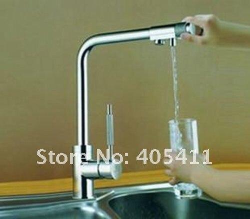 100% laiton chrome poli 3 voies cuisine évier mélangeur robinet 2 trous eau potable robinet double poignée accessoires de cuisine