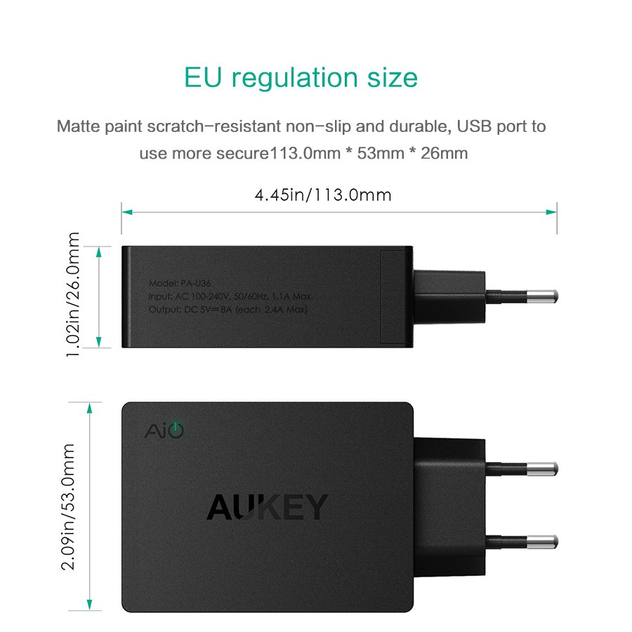 AUKEY Universal 4 Ports USB Charger Travel Wall Charger Adapter For ...
