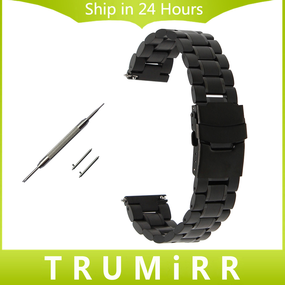 цена Stainless Steel Watchband Quick Release 22mm for Lunimox Men Women Watch Band Safety Buckle Strap Wrist Bracelet Black Silver онлайн в 2017 году