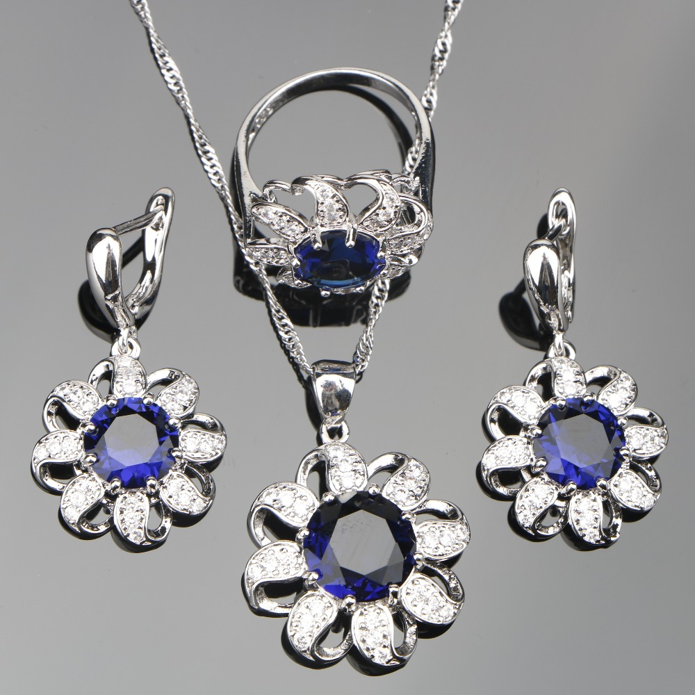Women Blue Zircon Silver 925 Costume Jewelry Sets Wedding Earrings With Stones Pendant&Necklace Rings Set Jewelery Gift Box
