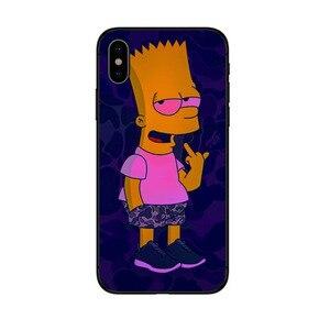 Барт Симпсон черный мягкий чехол для телефона iPhone 11 pro max 6 6s 7 8 Plus X XR XS MAX 5S SE забавные Симпсоны ТПУ силиконовый чехол