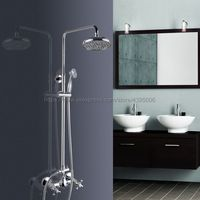 Bathroom Rainfall Shower Faucet Set Mixer Tap With Hand Sprayer Wall Mounted Bath Shower Sets Double Handles Chrome Bcy305
