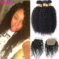 Indian Virgin Hair With Closure Indian Curly Virgin Hair With Closure 4 Bundles Grade 6A  Indian Curly Virgin Hair With Closure