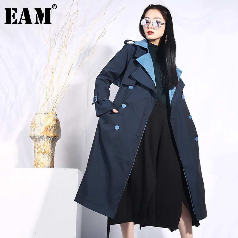 [EAM] 2019 New Autumn Lapel Long Sleeve Blue Hit Color Loose Long Belt Bouble Breasted Windbreaker Women   Trench   Fashion JO553
