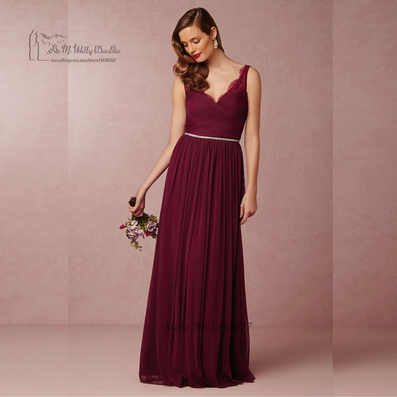 Burgundy   Bridesmaid     Dresses   2016 Pleated Vestidos de Madrinha Lace Long Wedding Party   Dress   Gowns V Neck Back Crystal Belt