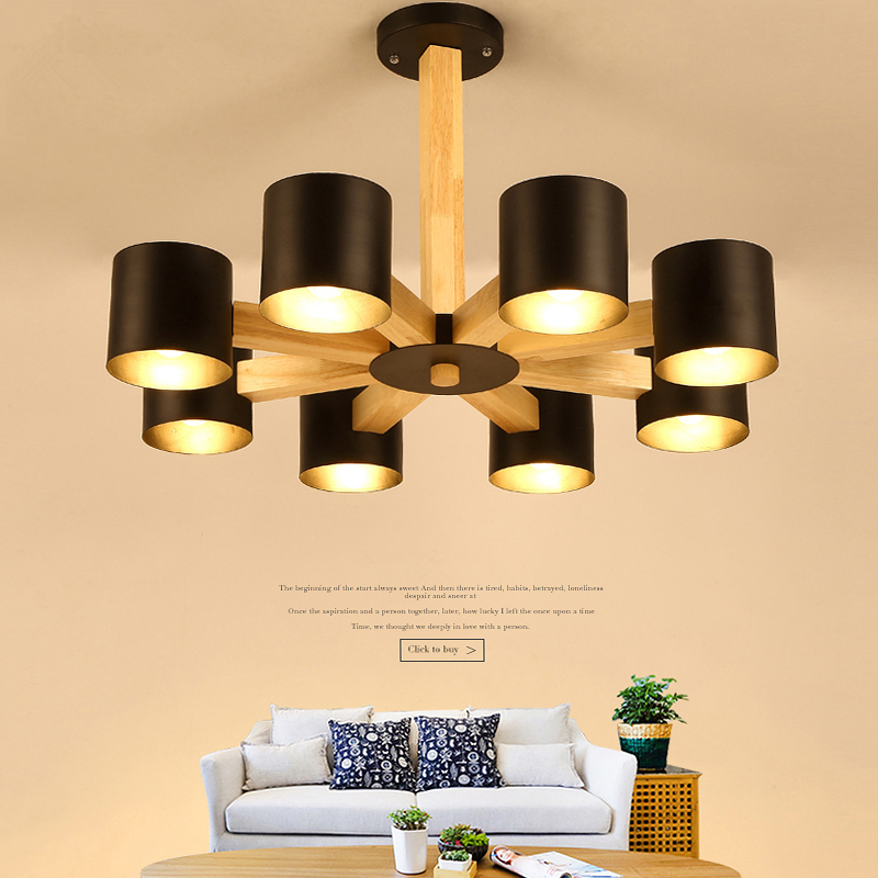 купить Nordic solid wood Chandelier living room Chandeliers bedroom restaurant LED simple creative lighting hanging lights онлайн
