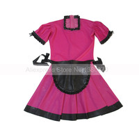 Rose and Black Lolita Latex Dress Maid Rubber Costumes with Apron Customized Handmade Dresses S LD154