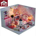 Home Decoration Crafts DIY Doll House Wooden Doll Houses Miniature DIY dollhouse Furniture Kit Room Items LED Lights Gift TW2