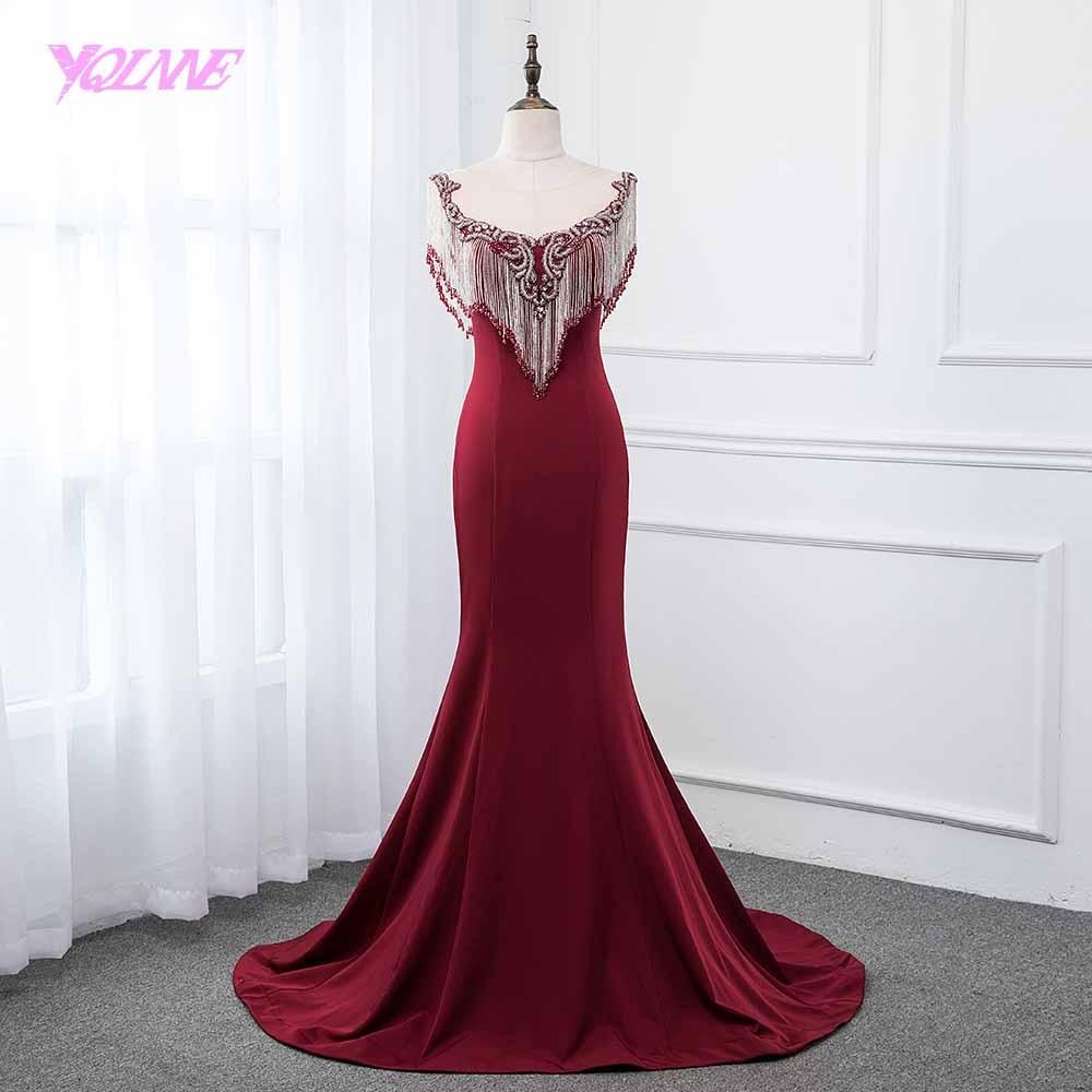 YQLNNE Burgundy Long   Prom     Dresses   2019 Mermaid Beading Knitting Formal Evening Gown   Dress