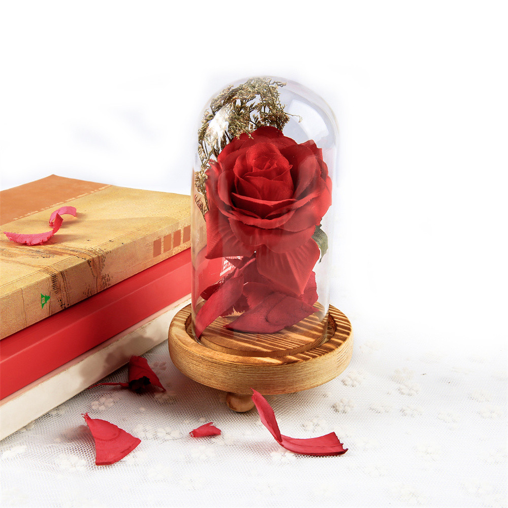 2018 New Fashion Birthday Gift Red Rose Fallen Petals In A Glass Dome On A Wooden Base With High Quality Hot Sale For Home#35
