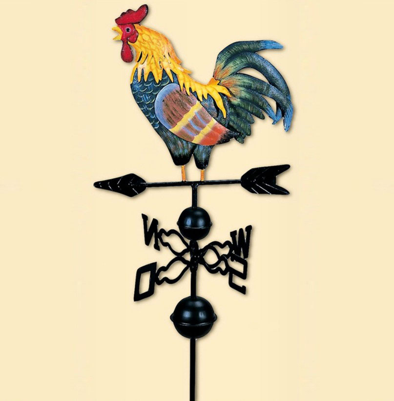 Top Quality 120cm Height EuropeanTraditional Painted Cock Wind vane flower insert country style classic garden decoration 1632