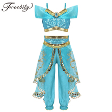 Kids Girls Princess Glittery Sequins Rhinestone Costume Outfit Off Shoulder Crop Top with Pants Halloween Cosplay Party Dress Up