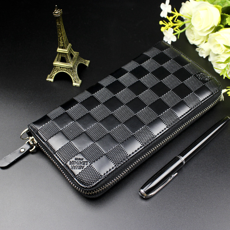 Men Wallets Zipper Long Wallet Men 2018 Designer Brand Leather Coin Purse Male Plaid Clutch Phone Wallets portefeuille homme