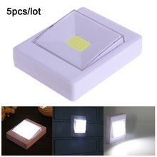 5pcs/lot COB LED Switch night light Wall NightLight Lamp 4*AAA Battery Operated with Magic Tape for childrens room