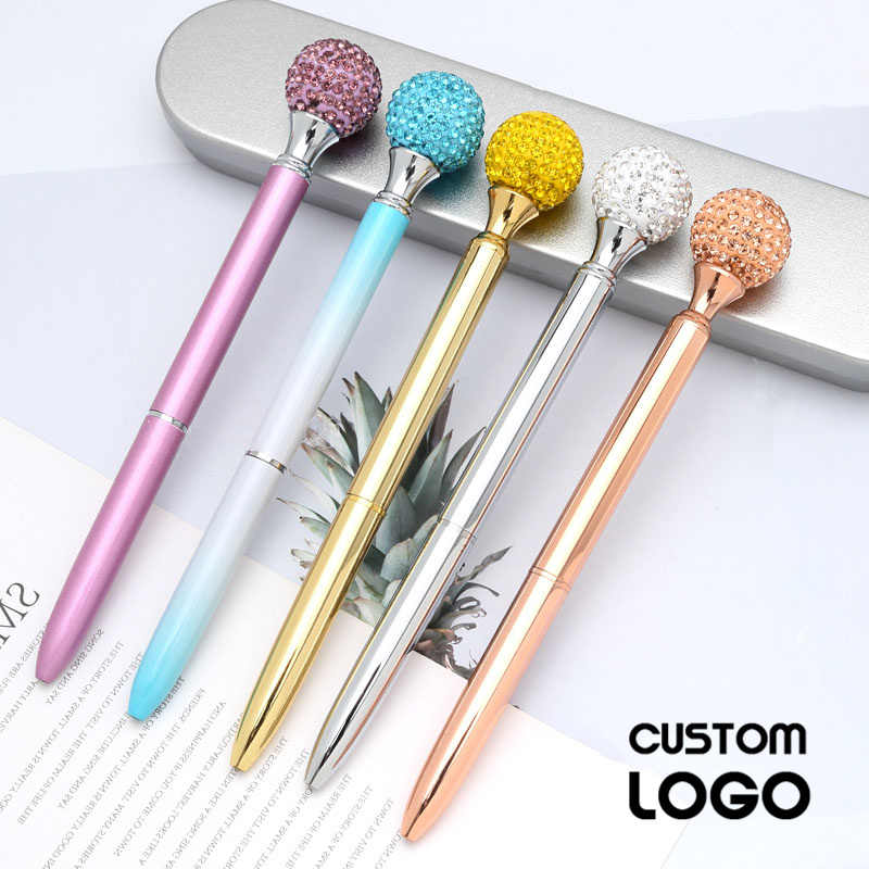 Logo Custom Made Big Gem Ball Ballpoint Pen High Grade Birthday Valentine's Day Stationery Engraved Gift Pens Kid Teachers Gifts