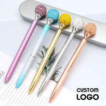 Logo Custom Made Big Gem Ball Ballpoint Pen High Grade Birthday Valentines Day Stationery Engraved Gift Pens Kid Teachers Gifts