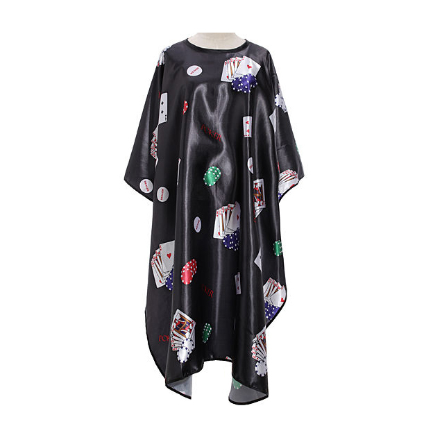 Pro Salon Barber Hair Cut Hairdressing Coloring Poker Pattern Gown Cloth Cape