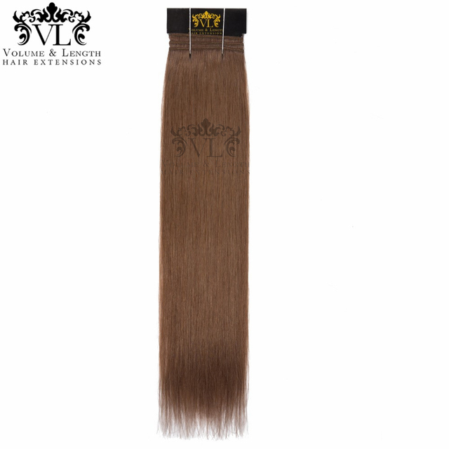 Vl Light Brown Remy Hair Extensions Straight Human Hair 1 Piece