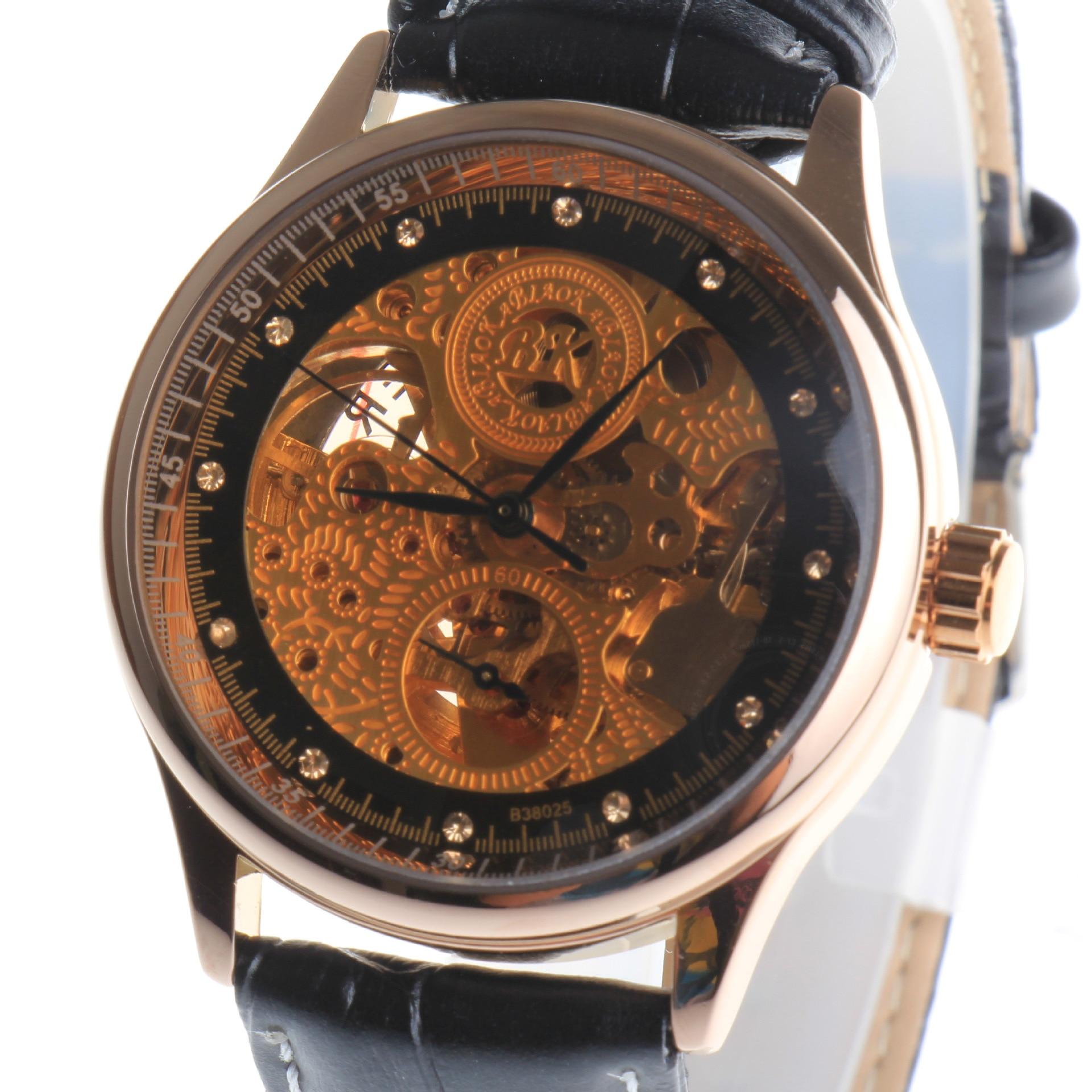 BIAOKA Brand New Fashion Gold Watch Stylish Steel Men Male Clock Classic Mechanical Self Wind Wrist