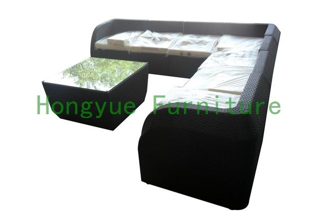 Jardín moderno de ratán sofá seccional set