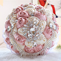 Top Quality 2016 Bridal Bouquet Artificial Rose Swarovski Crystal Wedding Decoration Supplies Silk Bride Flower buque noiva