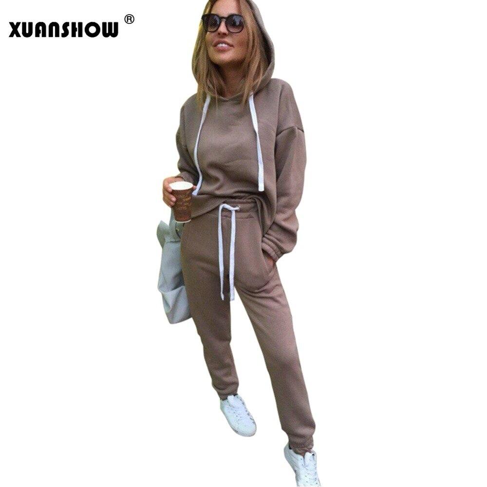 XUANSHOW 2018 moda mujer chándal Otoño Invierno sudaderas irregulares + unidades pantalones largos Conjunto de 2 piezas conjuntos Conjunto Moleton femenino
