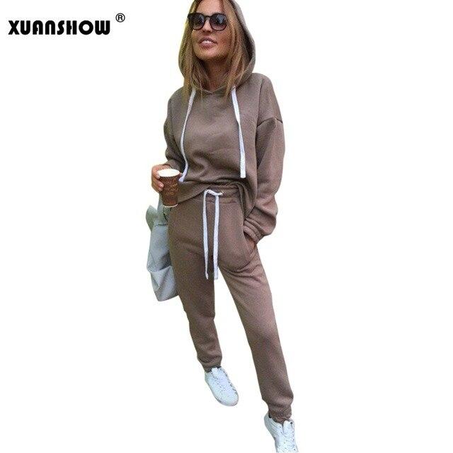 XUANSHOW 2018 Fashion Women Tracksuit Autumn Winter Irregular Hoodies+Long Pants 2 Piece Set Outfits Conjunto Moleton Feminino