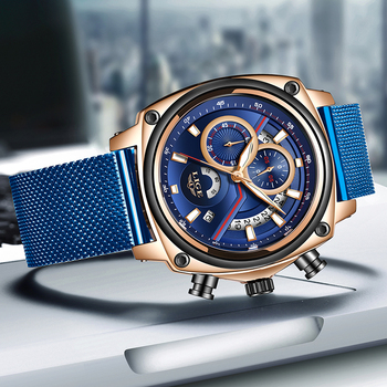 LIGE Luxury Casual Blue Clock Military Waterproof Chronograph Men Quartz Watches  2