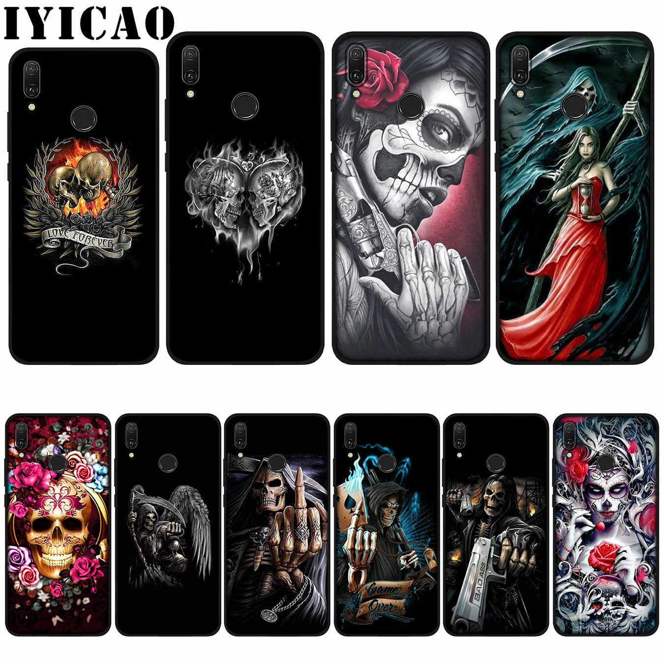 IYICAO Grim Reaper Skull Skeleton love Soft Case for Huawei P20 Pro P10 P8 P9 P30 Lite Mini 2017 P Smart 2019 Cover