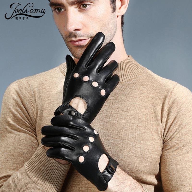 Joolscana cuir gants hommes noir écran tactile été hiver gants respirant 100% authentique cuir mitaine conduite au chaud