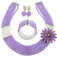Fashion Lilac Clear AB Bead Multi Strands Necklace Nigerian Wedding African Beads Jewelry Set Crystal 6 SS27