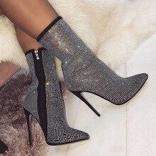 Женские ботинки на высоком каблуке со стразами; обувь на высоком каблуке размера плюс стразы; женские пикантные ботинки на молнии с острым носком для женщин