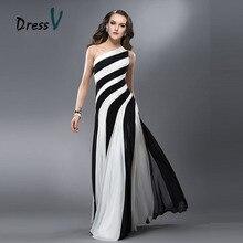 Dressv Black White Long Evening Dresses 2017 Mermaid trumpet Tulle Straps One shoulder Formal Cheap Prom