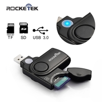 Rocketek high quality usb 3.0 multi 2 in 1 memory card reader adapter for SD/TF micro SD for pc computer laptop accessories