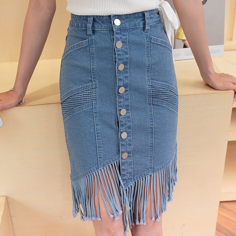 2017 Summer Demin Skirts Women Single-breasted Irregular Tassel Sexy Skirt Stitching Retro Comfort Jeans Skirt